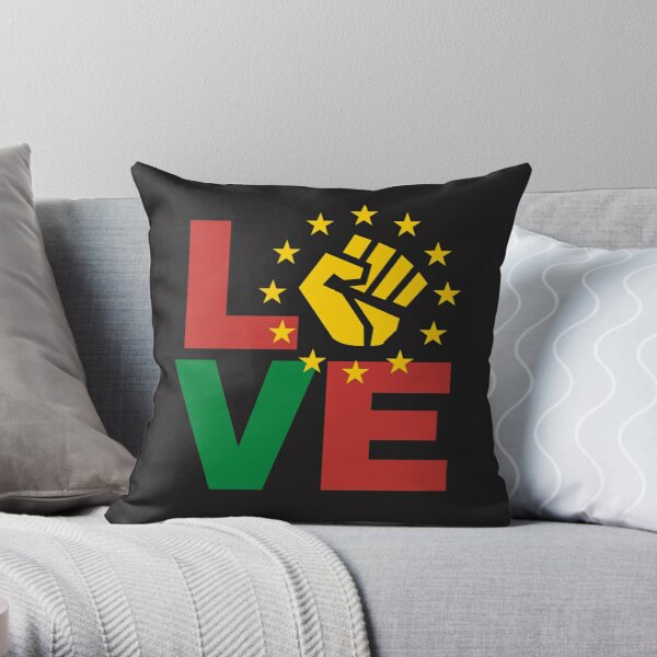 Love with yellow Black power fist Throw Pillow