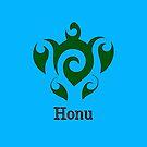 Swirly Hawaiian Green Sea Turtle on Ocean Blue by pjwuebker