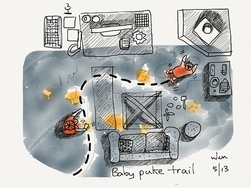 Baby puke trail by littlearty