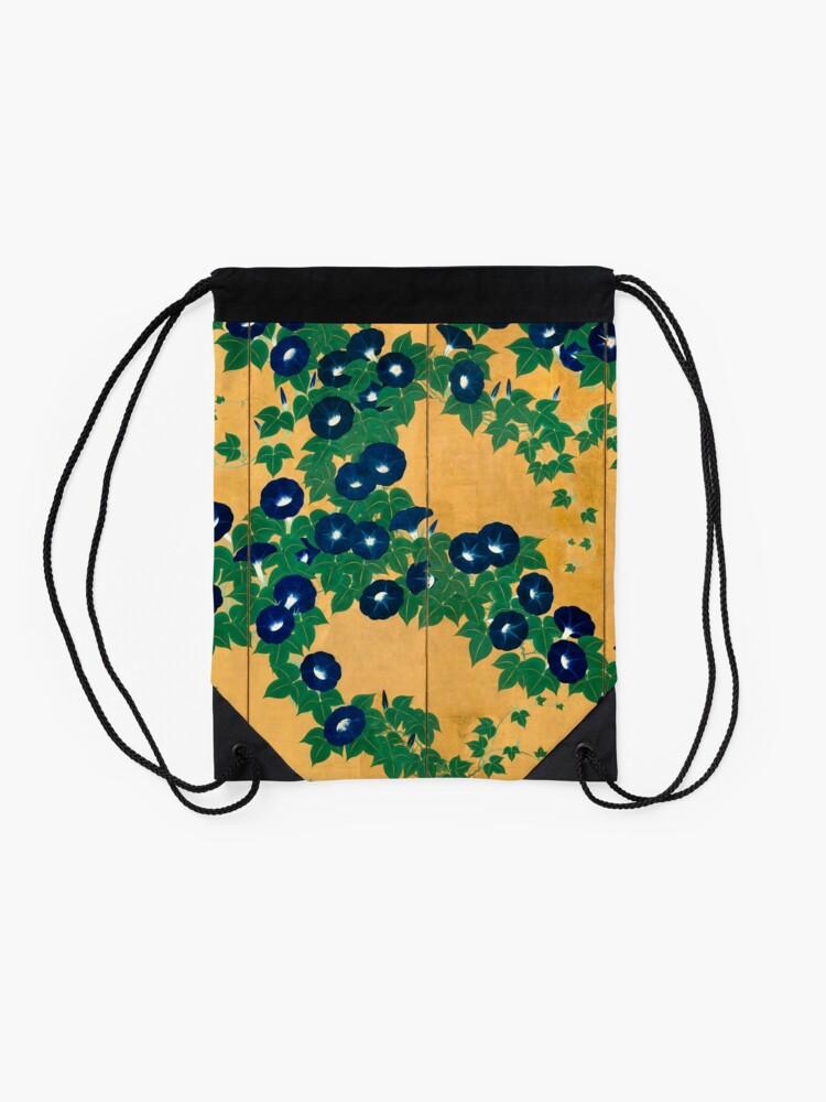 Alternate view of Morning Glories by Suzuki Kiitsu Drawstring Bag