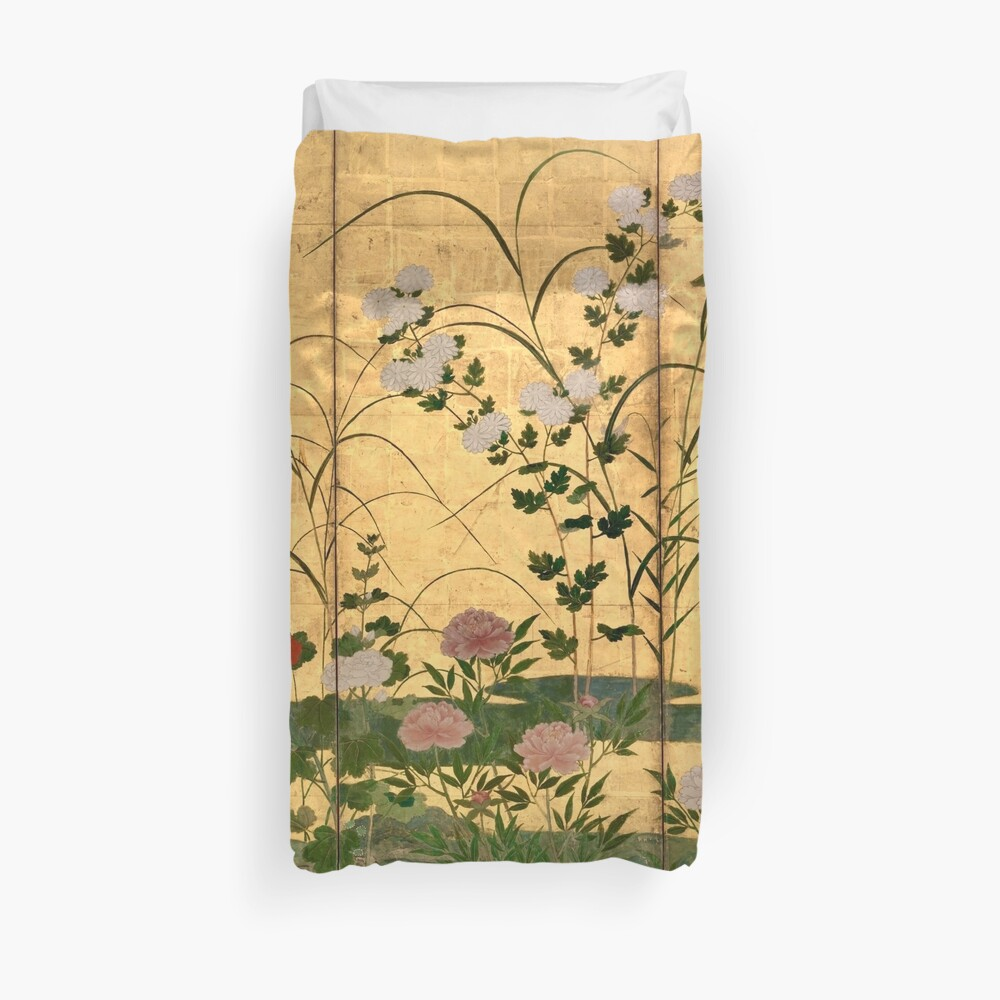Flowers and Grasses of the Four Seasons Duvet Cover