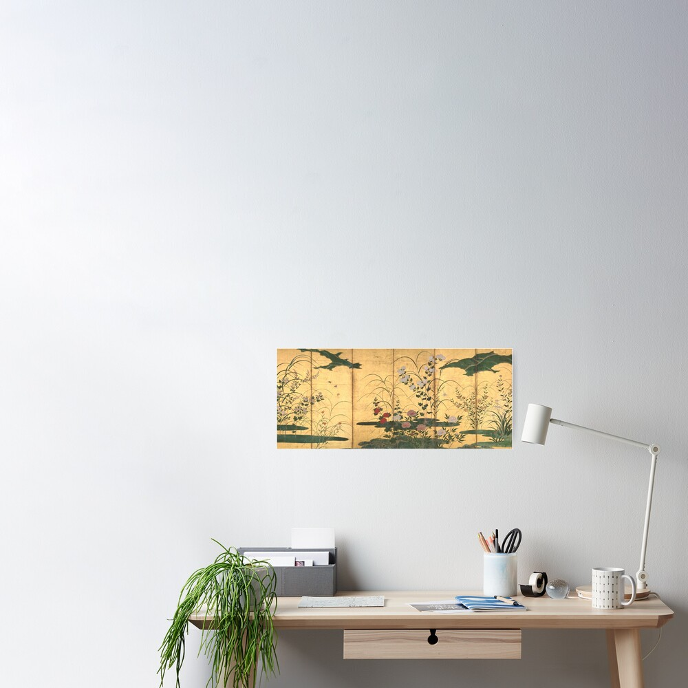 Flowers and Grasses of the Four Seasons Poster