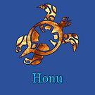 Golden Hawaiian Green Sea Turtle on Ocean Blue by pjwuebker
