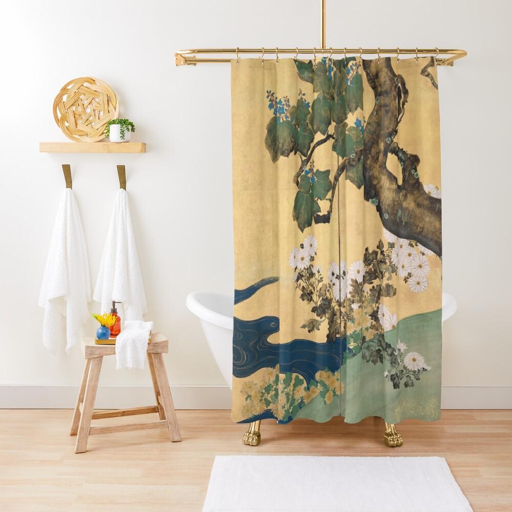 Paulownias and Chrysanthemums 桐菊流水図屏風  Shower Curtain