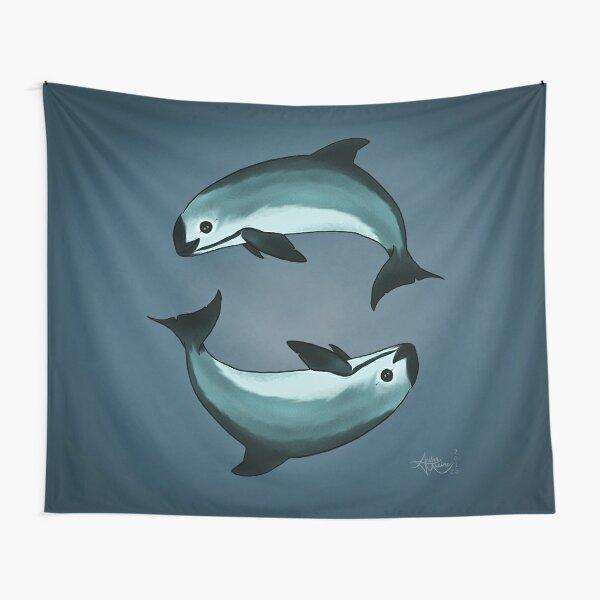 """Spiraling"" vaquita porpoise by artist Amber Marine (Copyright 2015) ~ vaquita art, critically endangered species  Tapestry"