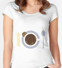 image of a cup of coffee, sugar, spoons and cookies Women's Fitted Scoop T-Shirt