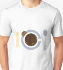 image of a cup of coffee, sugar, spoons and cookies T-Shirt