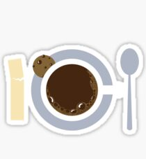 image of a cup of coffee, sugar, spoons and cookies Sticker