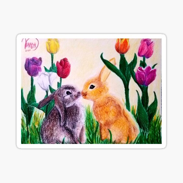 springtime bunnies Sticker