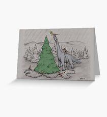 Dinosaurier, die den Baum schneiden - gefärbt Grußkarte