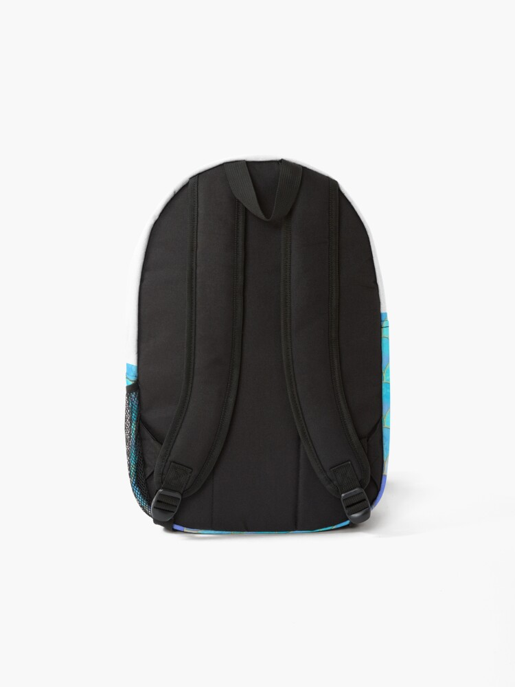 Alternate view of Aqua Pearlescent & Gold Mermaid Scale Pattern Backpack