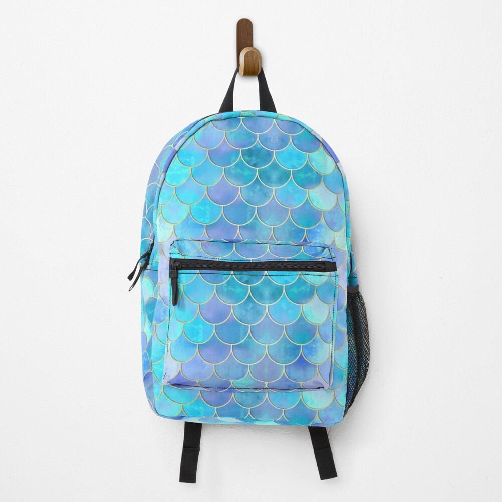 Aqua Pearlescent & Gold Mermaid Scale Pattern Backpack