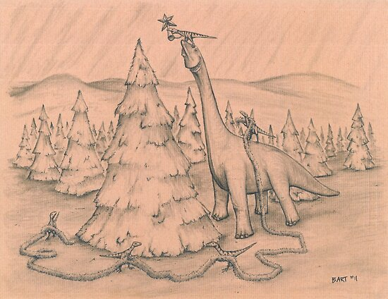 Dinosaurs Trimming the Tree by Bart Castle