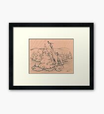 Dinosaurs Trimming the Tree Framed Print