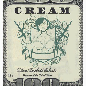 Cream t-shirt 100 dollar bill  by jackthewebber