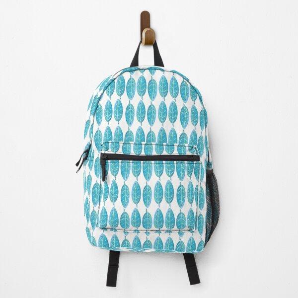 Blue Watercolor Leaf Backpack