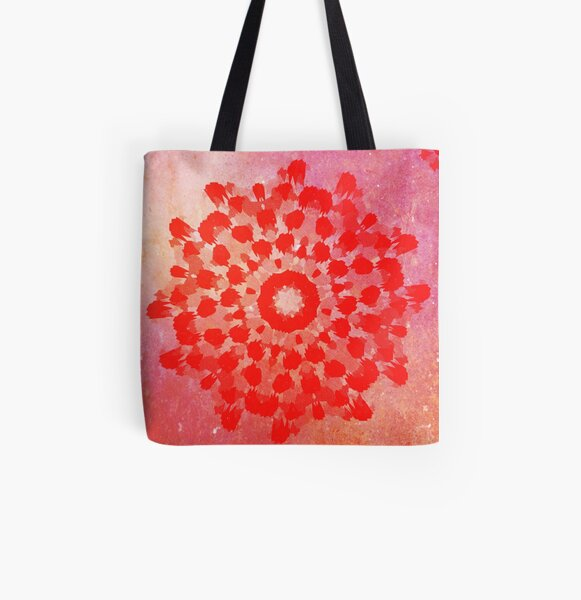 Red Mandala Grunge  All Over Print Tote Bag