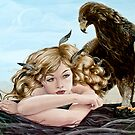 Girl with Golden Eagle in Nest by plantiebee