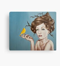 Girl with Nest Hair and Canary Metal Print