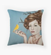 Girl with Nest Hair and Canary Throw Pillow