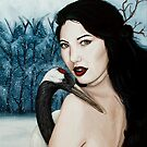 Girl with Red Crowned Crane in Snowy Forest by plantiebee