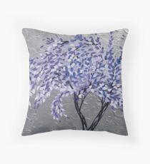 purple tree in a storm with silver background- relaxing zen image Throw Pillow