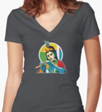 Lord Krishna - Hindu God - Geometric Avatar Women's Fitted V-Neck T-Shirt