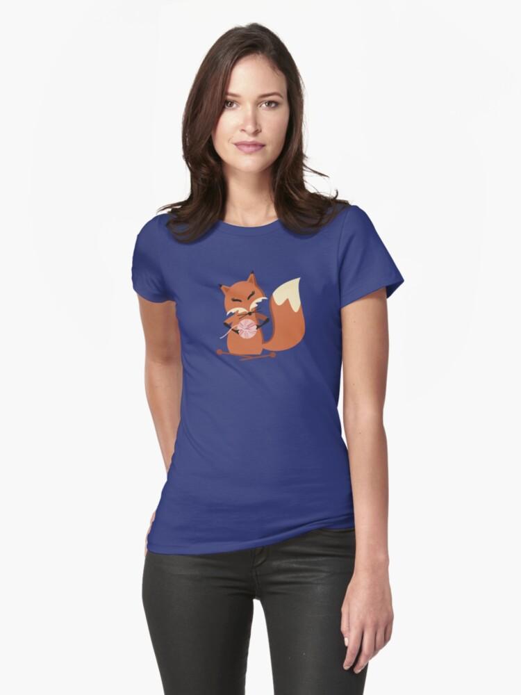 Cute fox knitting needles fluffy yarn t-shirt by BigMRanch