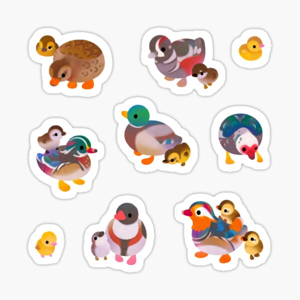 Duck and Duckling Sticker