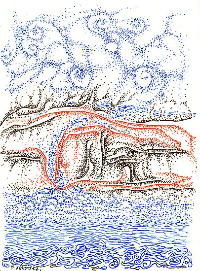 Bluffs, a free hand pen and ink on paper ACEO by Regina Valluzzi