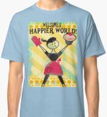 Happier World retro baking cupcake poster Classic T-Shirt