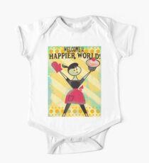Happier World retro baking cupcake poster One Piece - Short Sleeve