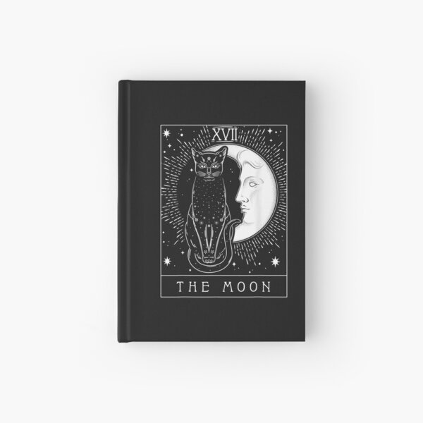 Tarot Card Crescent Moon And Cat Graphic Hardcover Journal