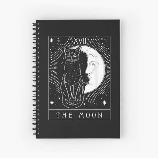Tarot Card Crescent Moon And Cat Graphic Spiral Notebook