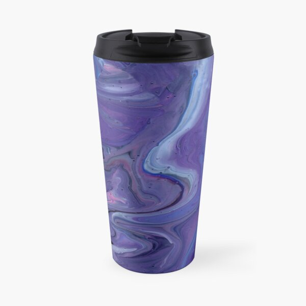 Psychedelic Swirls | Purple and Blue Acrylic Pour Travel Mug