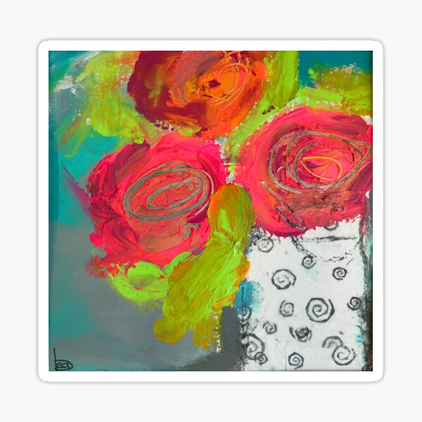 Three roses in a vase Sticker