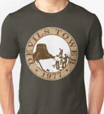 Devils Tower, 1977 (White Background) Unisex T-Shirt