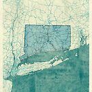 Connecticut Map Blue Vintage by HubertRoguski