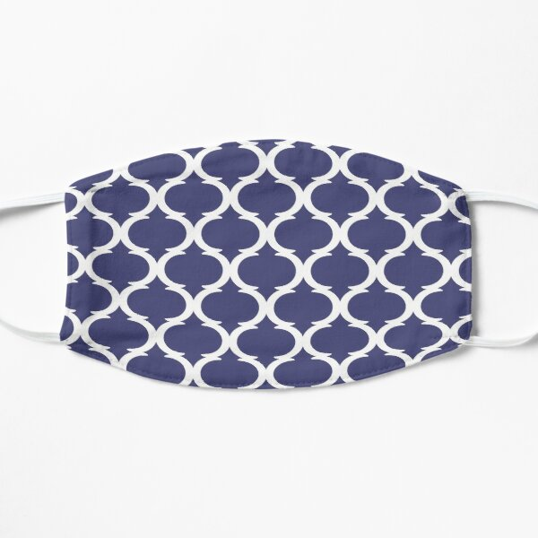 Blue and White Nautical Moroccan Quatrefoil Pattern Flat Mask