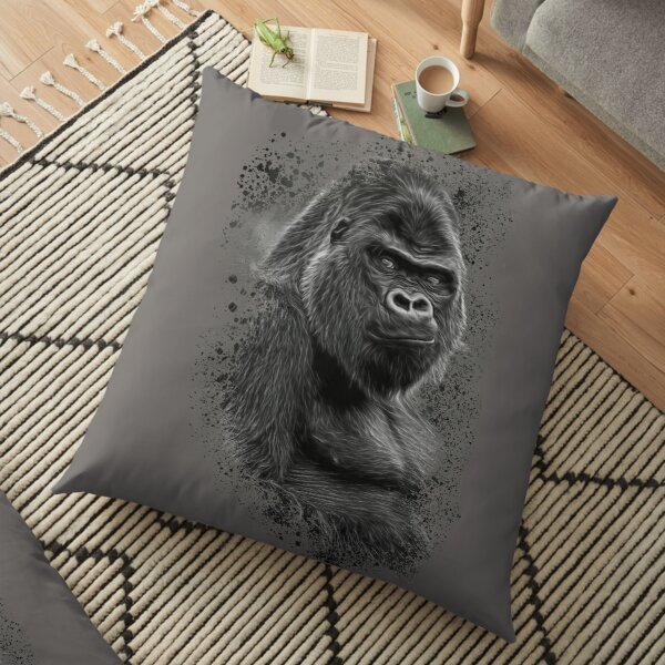 Silverback Gorilla Splatter Design Floor Pillow