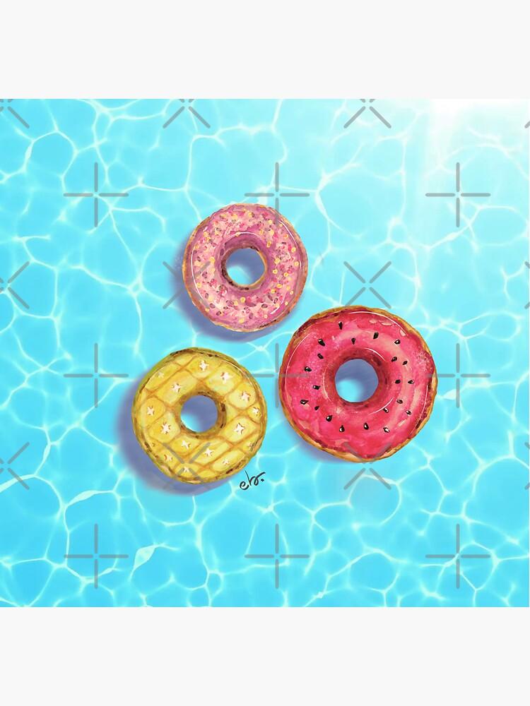Donuts pool party_ watercolour by ebozzastudio
