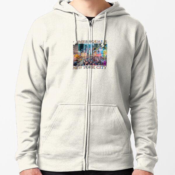 Times Square Tourists (poster on white) Zipped Hoodie