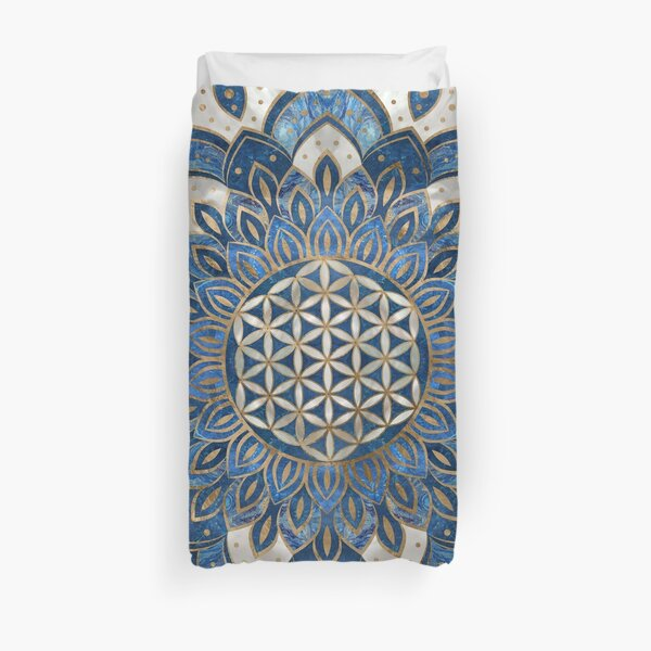 Flower of Life in Lotus - Blue Marble and Pearl Duvet Cover