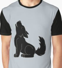 Black Howling Wolf Pup Graphic T-Shirt