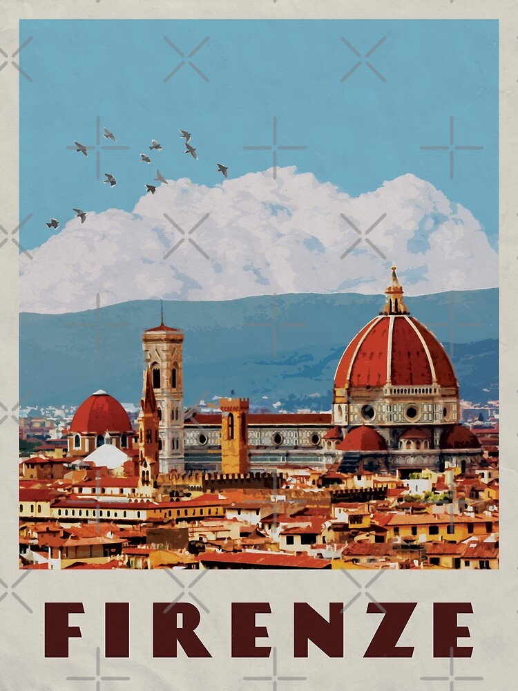 Florence Travel Poster Vintage • Firenze Italia Retro Travel Poster • Florence Duomo Cathedral by stevenmccormick
