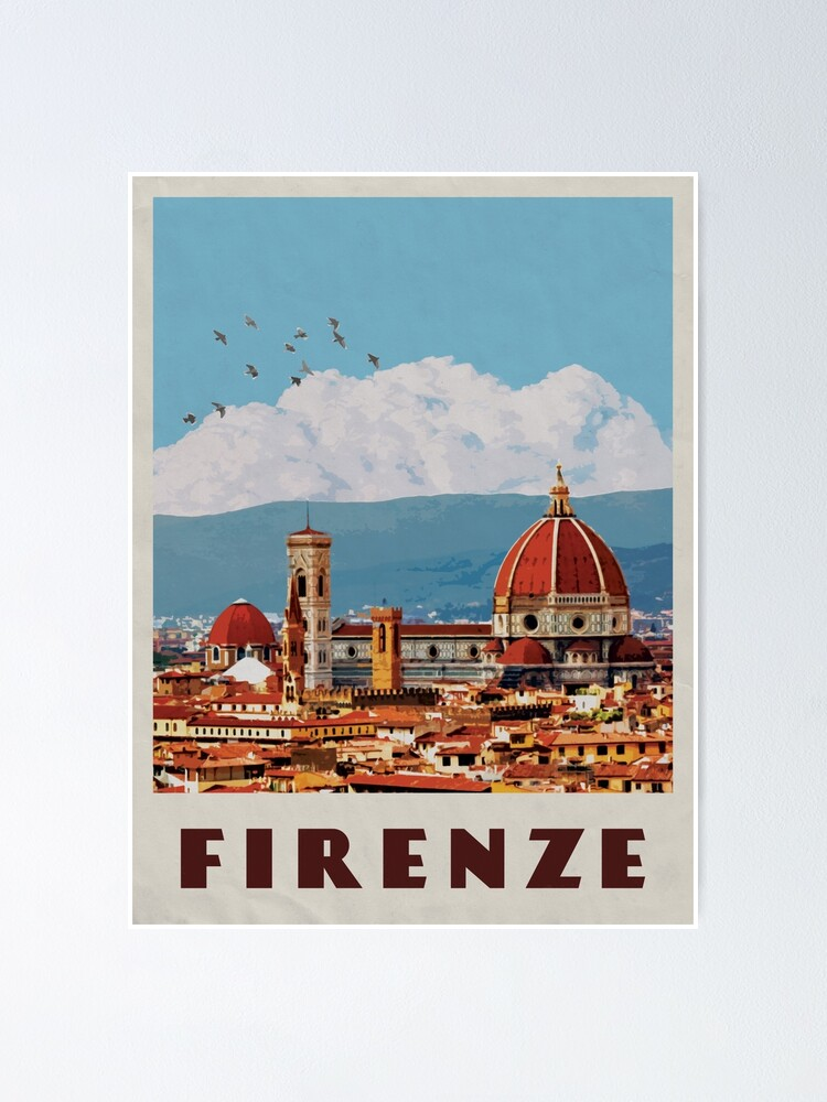 Alternate view of Florence Travel Poster Vintage • Firenze Italia Retro Travel Poster • Florence Duomo Cathedral Poster