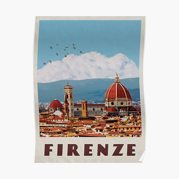 Florence Travel Poster Vintage • Firenze Italia Retro Travel Poster • Florence Duomo Cathedral Poster