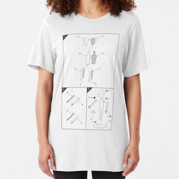 Grey Alien Model Kit (White Background) Slim Fit T-Shirt