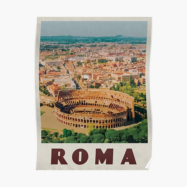 Rome Travel Poster Vintage • Roma Italia Retro Travel Poster • Rome Italy Colosseum Poster
