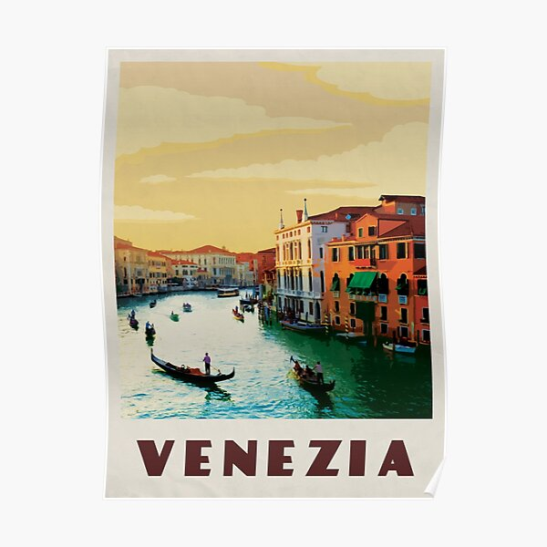 Venice Travel Poster Vintage • Venezia Italia Retro Travel Poster • Venice Italy Canals Poster